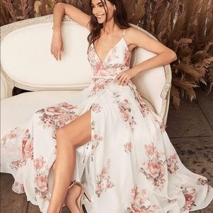 Lulus White Pink Maxi Dress